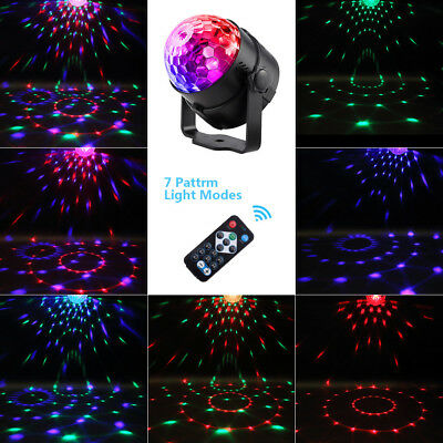 RGB LED Laser Projector Light Ball Sound Activated Disco Party Xmas Lamp Remote