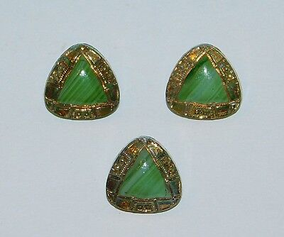 Antique Victorian SLAG Striped Green Glass Doll Dimi Buttons SET Gold Luster