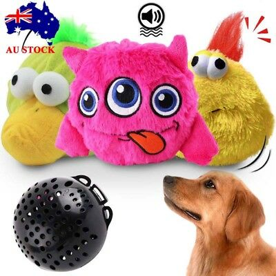 AU Pets Dog Puppy Cat Plush Interactive Automatic Toys Ball Shake Squeaker Toy