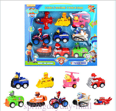 Racer Car Paw Patrol Dog Marshall Rubble Chase Everest Kids Toys Gifts Box 9PCS