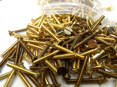 """#6-32x1"""" Flat Head Slotted Machine Screws Solid Brass (135) FREE SHIPPING!"""