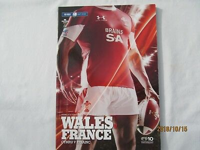 WALES V FRANCE 26th FEBRUARY 2010 RBS 6 NATIONS RUGBY PROGRAMME