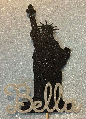Personalised Statue Of Liberty New York glitter birthday cake topper NY any name