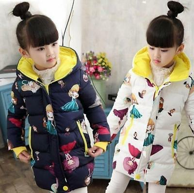Kids Girls Children Thicken Cotton Hooded Coat Loose Causal Jacket Long Parkas