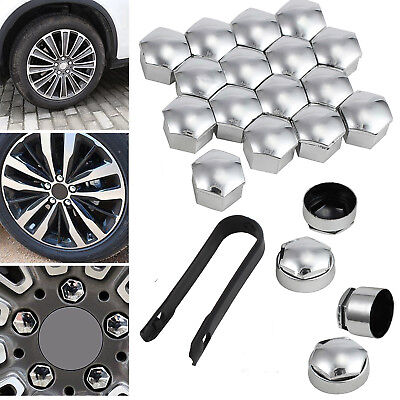 17mm CHROME ALLOY CAR WHEEL NUT BOLT COVERS CAPS UNIVERSAL FOR ANY CAR
