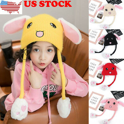 Baby Cute Rabbit Pinching Ear Hat Can Move Airbag Magnet Cap Plush Knit Hat