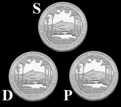 """2013 D,P,S White Mountain NF Quarters New Hampshire """"Brilliant Uncirculated""""ATB"""