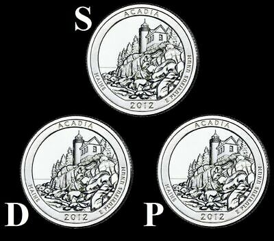 "2012 D,P,S Acadia National Park Quarters Maine ""Brilliant Uncirculated"" ATB"