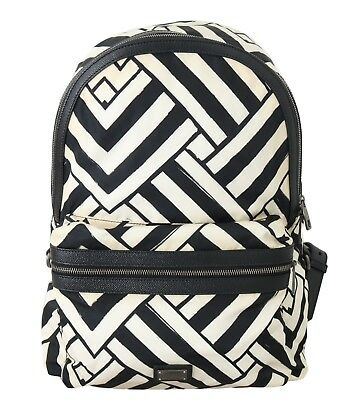 NEW $1100 DOLCE & GABBANA Backpack Black White Striped Canvas Leather Bag Laptop