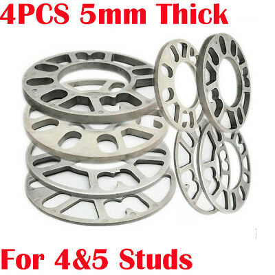4PCS 5mm Thickness Aluminum Alloy 4 and 5 Studs Wheel Spacer Car Turck Universal