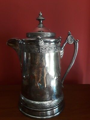 Antique Silverplate Double Wall Water Pitcher Original White Ironstone Lining Re