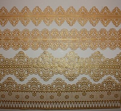 Ready Made GOLD SPARKLE Cake Lace Strips, Sugarlace, Various Designs