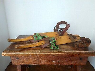 Primitive Antique Friese Schaats Ice Skates Wood With Leather & Iron Blades