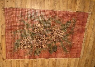 "VINTAGE RUG MAKING CANVAS WITH PRINTED PROJECT ON 122x75 CM Probably ""Pinecone"""