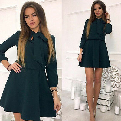 Fashion Women's O-neck Long Sleeves Bow Party Causal Spring Short Dress CB