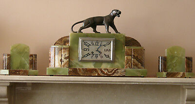 French Art Deco Mantel Clock Garniture, Panther Figurine, Serviced, Warranty