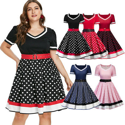 Women's Vintage Style 50s 60s Retro Rockabilly Pinup Housewife Party Swing Dress