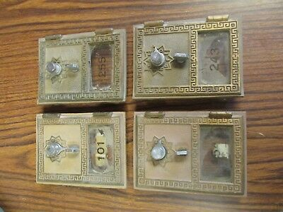 USPS Vintage Combination PO Box doors from Meeteetse WY post office Lot of 4