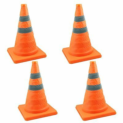 "4 x 18"" COLLAPSIBLE PULL OUT POP UP SAFETY CONES EMERGENCY ACCIDENT TRAFFIC ROAD"
