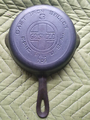 Vtg Griswold 3 Cast Iron Skillet 709 Slant Logo Heat Ring Erie HTF Antique Rare
