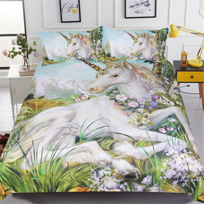 Unicorn Bedding Set Queen Size Watercolor Print Bed Set Kids BeddingOutlet