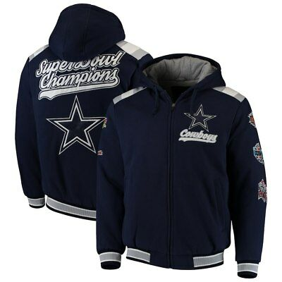 8c5ef5edf Dallas Cowboys 5 Time Super Bowl Champions Hooded Bullpen Varsity Fleece  Jacket