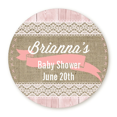 burlap shabby chic pink girl round personalized baby shower
