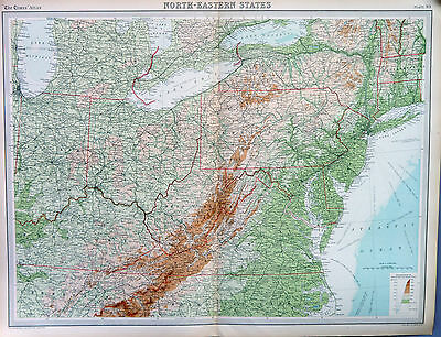 Map of United States North Eastern Large 1922 Original Antique
