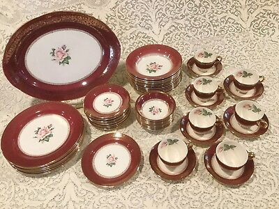 HOMER LAUGHLIN LADY STRATFORD 22 KT CHINA Red With Pink Rose 55 Pieces + Extras