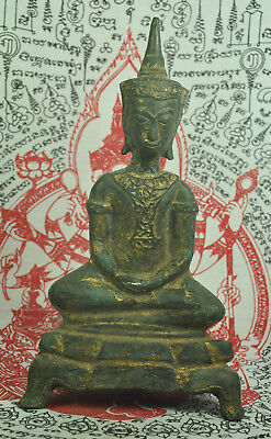 Antique Phra Chai Ngang Ngan Emperor Thai Gilt Gold Bronze Buddha Figure Statue