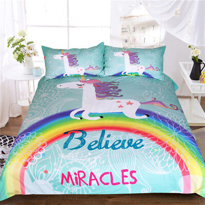 Unicorn Bedding Set Believe Miracles Cartoon Single Bed Duvet BeddingOutlet