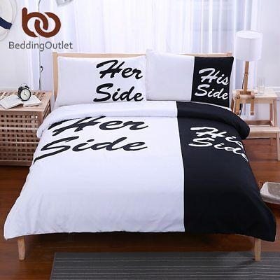 BeddingOutlet Black White Bedding Set His and Her Side Home Textiles Soft Duvet