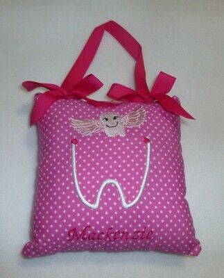 "Embroidered Dots TOOTH FAIRY PILLOW already personalized with ""Mackenzie""  New"