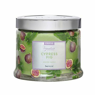 Scented candle 3 wick jar cypress fig partylite floral signature new decorative