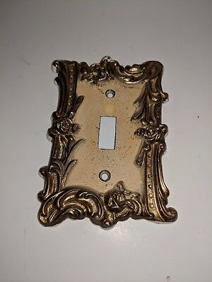 Vintage Brass Tone Electric light Switch Outlet Wall Plate Cover Mid Century