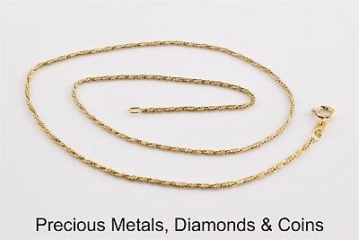 0738f8794e0cd 14K YELLOW GOLD Twisted Wheat Link Necklace Pendant Chain Italy 16