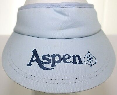 5d86b32b2f8 Vintage Aspen Colorado Ski Visor Adjustable One Size Fits All Adult Hat  Blue Cap