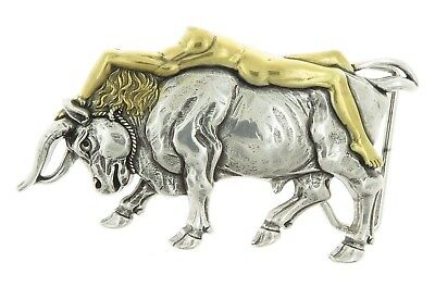 Lady Bull Western Antique Gold/Silver Metal Belt Buckle