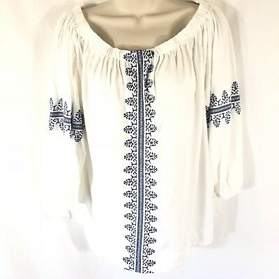 c1873a1bd597c6 Chaps Womens On Off Shoulder White Navy Embroidered Peasant Blouse Medium