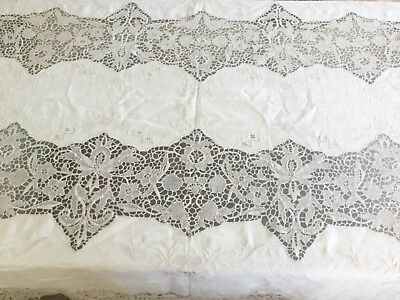 "Antique vintage Italian embroidered linen & reticella lace table cloth 100""x65"""