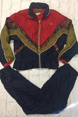 Vtg 90's EAST WEST Women's Nylon Track Suit Hip Hop Windbreaker Pants Medium M