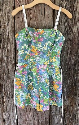 Vintage 1950s 60s Swimsuit Playsuit Pinup Floral Small Vtg Romper