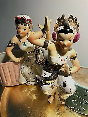 """LADIES OF INDIA""  Rare Pair Of Vintage Early 1950's Fiqurine / Planters"