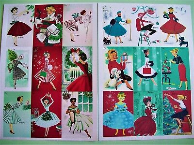 1950s 1960s Vintage Retro Pin Up Rockabilly Christmas Dress Tags Gift Cards