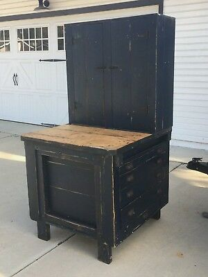 Antique Wood Industrial Carpenter Workbench Tool Cabinet Blue Paint Square Nails