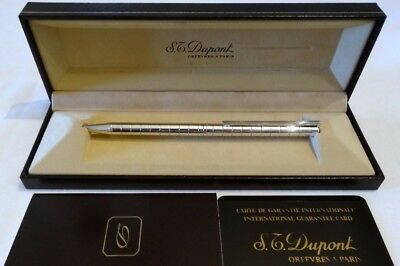 S. T. Dupont Classique Silver Ballpoint Pen In Stacked Circles Design - Mint