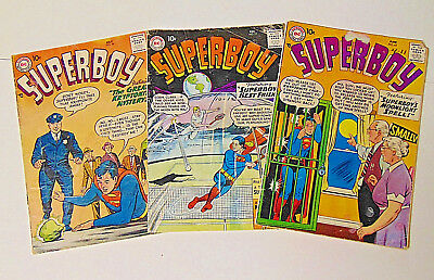Superboy #58 65 77 DC Comics 1957-1959 10c Cover Price Lot of 3 Comics
