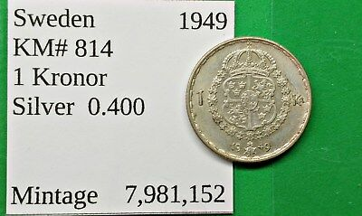 World Foreign Nice Old Sweden 1949 Silver 1 Kroner Coin KM# 814 !!