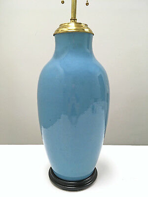 Turquoise Pottery Table Lamp Mid Century Asian Modern 50s Hollywood Regency Vtg