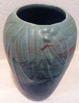 Rare McCoy Leaves Berries Pattern with Unusual Nouveau Deco Abstract Swirl Glaze